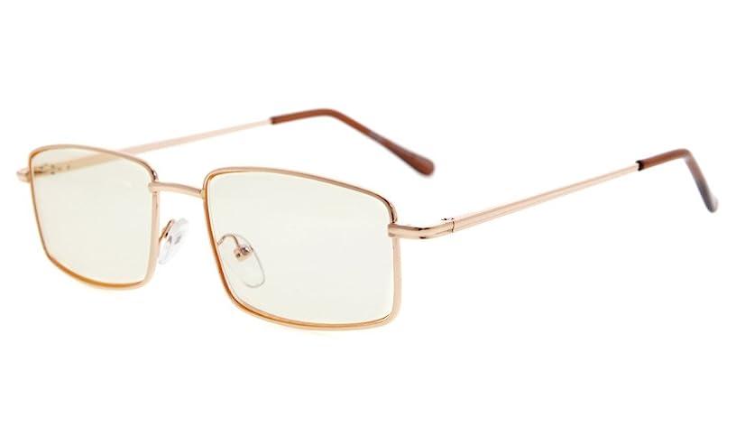 Eyekepper Spring Hinges Anti-Blue Ray/Anti-Strain Computer Eyeglasses (Gold/Amber Tinted Lens, 0.00)
