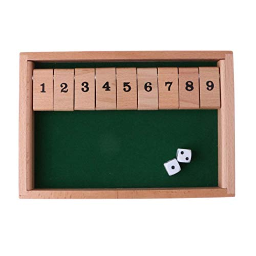 Yxxc Wooden Shut The Box Board Game with 2 Dice and Number Game for 2-4 Players for 2-4 Players Loved by Generations of Friends and Families