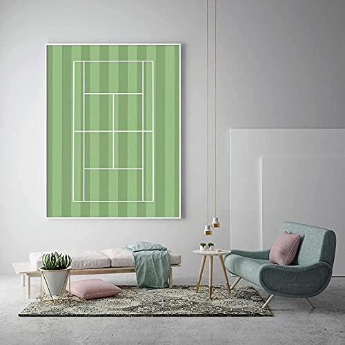 Arte de pared abstracto 40x60 cm sin marco moderno nórdico dibujos animados minimalista cancha de tenis raqueta pintura cartel sala de estar decoración del hogar