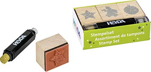 Heyda 204888494 Heyda 204888494 Stempel-Set (Weihnachten) Setgröße: 8 x 4,5 x 2,5 cm, 3 Holz-Stempel