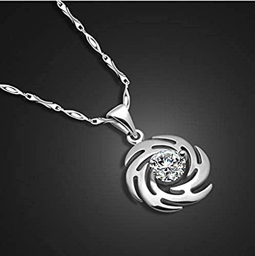 XQKQ Collar de Plata 925 para Mujer, Colgante de ciclón Creativo, Collar de Plata Maciza, joyería para Estudiantes, Collar de día de San Valentín para Mujeres y Hombres