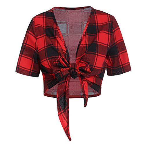 Lazzboy Damenmode Kurzarm Plaid Bogen Knoten Verband T Shirt Lässige Top Bluse Damen V-Ausschnitt Kariert ärmel Reißverschluss Tunika Longshirt Hemd Tops T-Shirt(Rot,S)