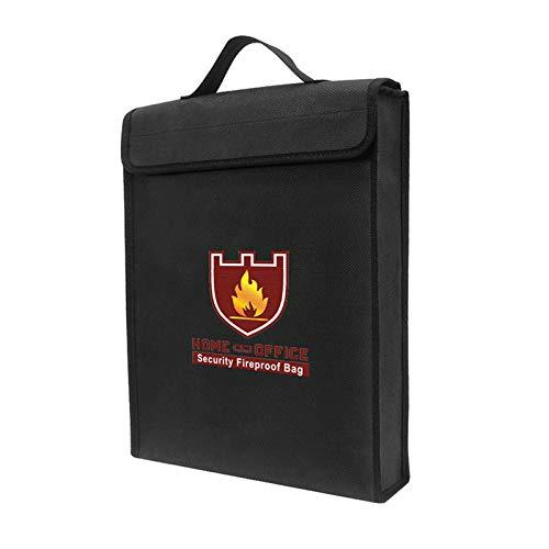 Moniel Fireproof Money Document File Bag Pouch Cash Cartões bancários Passport Valuables Organizador Holder Safe Storage for Home Office