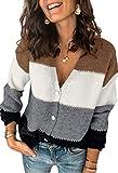 Spec4Y Strickjacke Damen Langarm V-Ausschnitt Strickmantel Einfarbig Streifen Knopfleiste Freizeit Herbst Winter Outerwear 2071 Schwarz Small