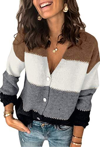 Spec4Y Strickjacke Damen Langarm V-Ausschnitt Strickmantel Einfarbig Streifen Knopfleiste Freizeit Herbst Winter Outerwear 2071 Schwarz X-Large