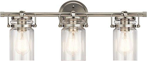 Kichler 45689NI Brinley Vanity, 3-Light 225 Total Watts, Brushed Nickel