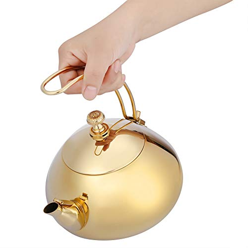 Bollitore,JadpesTeiera da 1,5 litri Kung Fu, Teiera classica in acciaio inossidabile Pentola elettrica per acqua calda veloce Bollitore elettromagnetico inglese con filtro(Oro)