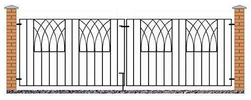 Abbey Modern Driveway Gates 2755mm GAP x 812mm High wrought iron dual swing metal gate ABZP11