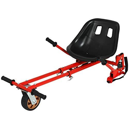 Uenjoy Verstellbarer Hoverboard-Sitzaufsatz Go-Kart-Zubehör, Kart-Rahmen, Passend Für Kart, Kinder Ab 3 Jahren, Erwachsene Mit Zwei Stoßdämpfern, 360° Flexible Vorderräder, Sicher Und Spaßig-Rot