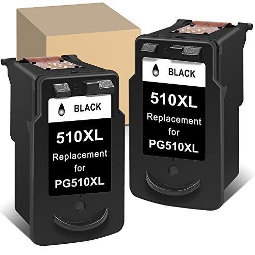 ATOPolyjet Cartucho de tinta remanufacturado para Canon PG 510 PG-510XL Uso con Canon Pixma IP2700 IP2702 MP230 MP235 MP240 MX320 MX330 MX340 MX360 MX410 MX420 (2 negros)