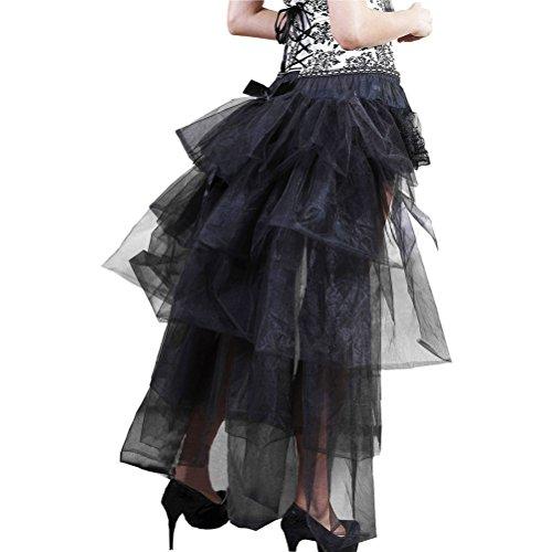 Petticoat Damen Elegant Classic Unikat Vintage Ballett Tüllrock Irregular Vorne Kurz Hinten Lang Gothic Steampunk Festlich Party Rock Unterrock Cosplay (Color : Schwarz, Size : One Size)