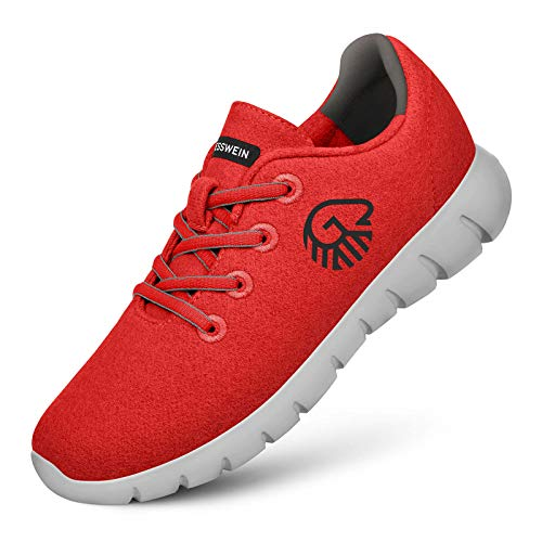 GIESSWEIN Merino Runners - Zapatillas deportivas para mujer, transpirables, de lana merino 3D, elásticas, ligeras, para el tiempo libre, con plantilla intercambiable, color Rojo, talla 39 EU