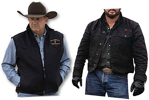 Men's Cow Boy John Dutton Ranch Rip Wheeler Pair of Cotton Jacket and Vest (Medium(Jacket-Chest-46))