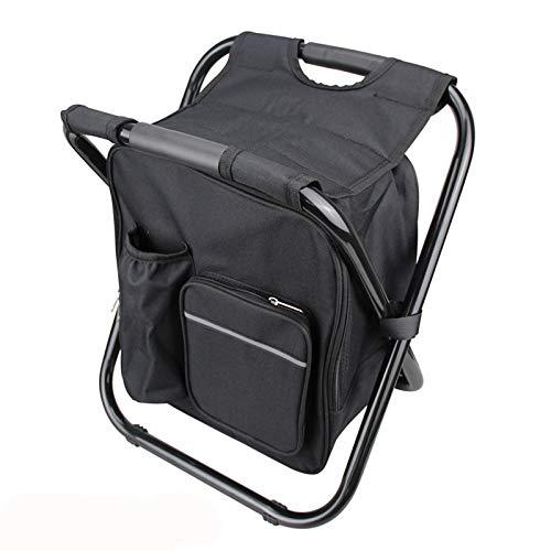 Hboy, zaino da campeggio portatile multifunzionale pieghevole zaino da pesca con sgabello ultraleggero all'aperto impermeabile zaino sedia, nero