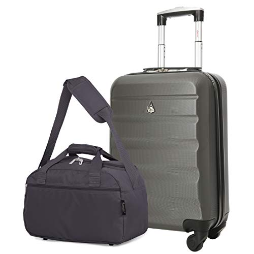 Aerolite 55x35x20cm Lightweight ABS Hard Shell Travel Carry On Cabin Hand Luggage Suitcase + 40x20x25 Ryanair Maximum Sized Holdall Cabin Bag (Charcoal + Charcoal)