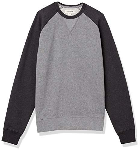 Amazon Brand - Goodthreads Men's Crewneck Fleece Sweatshirt, Heather Grey with Charcoal Sleeves, Small