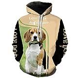 Animal Beagles 3D Sobre Impreso Mens Sudadera Harajuku Moda Sudadera Unisex Casual Chaqueta Jersey, Sudadera con capucha., XXXL