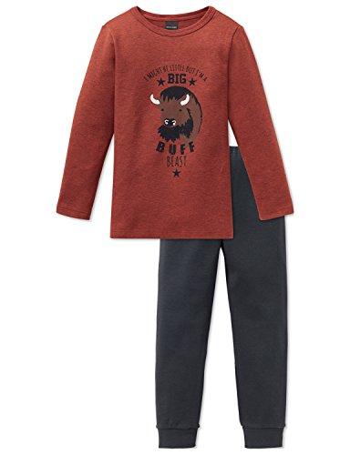 Schiesser Jungen Big Buff Kn Anzug lang Zweiteiliger Schlafanzug, Rot 500, 104