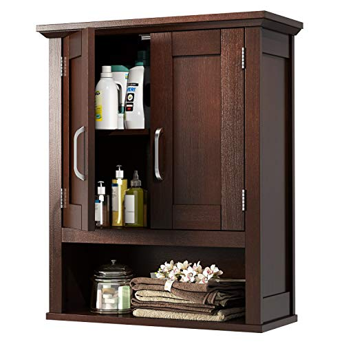 JustRoomy Home Bathroom Wall Mount Cabinet Wooden Medicine Cabinet Storage Organizer with 2 Door, Adjustable Shelf Open Storage Cube Cottage Collection Over The Toilet Hanging Cabinet, Espresso Color