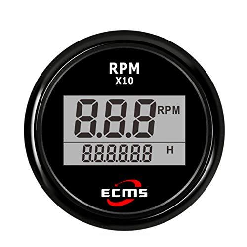 LANZHEN-Car Instruments Auto LKW Boot Digital Tachometer Drehzahlmesser mit Betriebsstundenzähler für Auto LKW Boot Yacht 0-9990RPM 52mm (2