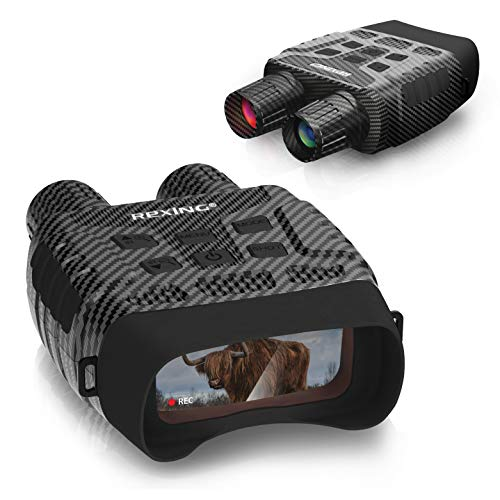 Rexing B1 (Carbon Fiber Color) Night Vision Goggles Binoculars with LCD Screen, Infrared (IR) Digital Camera, Dual Photo + Video Recording for Spotting, Hunting, Tracking up to 300 Meters