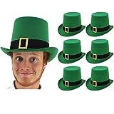 6 Sombreros de copa irlandés verde para adultos con detalle de hebilla. Disfraz infantil de duende. Sombreros de copa para el día de San Patricio en Irlanda