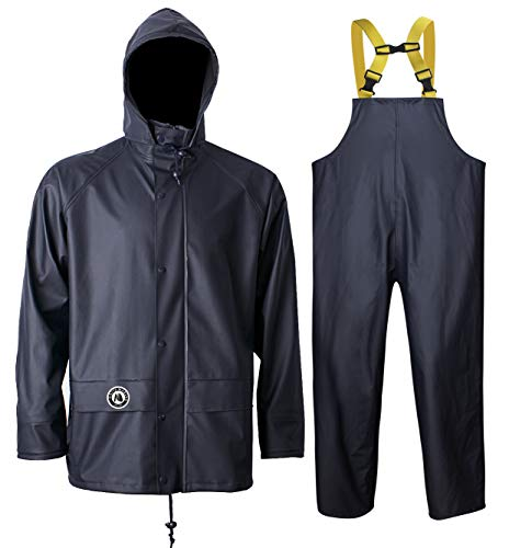 Navis Marine Regenanzug für Herren, strapazierfähig, Arbeitskleidung, wasserdichte Jacke mit Hose, 3-teilig (dunkelblau, Samll)