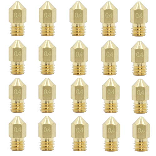 20PCS 0.4mm 3D Printer Extruder Nozzles for MK8 Compatible with Makerbot Creality CR-10 Ender 3 5