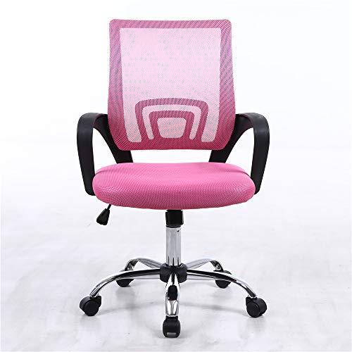 iHaushalt Bürostuhl mit Rückenlehne Drehstuhl Stoff Executive Bürostuhl mit Armlehnen Mesh Back Office Stuhl (Rosa)