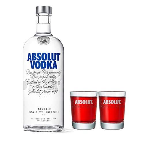 Absolut Vodka Original Set mit 2 Shot Gläsern, Premium Wodka, Schnaps, Spirituose, Alkohol, Flasche, 40 %, 1 L