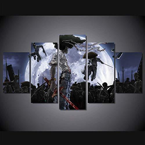 aicedu Canvas HD Print 5 Unidades Afro Samurai Poster Pintura De La Lona para Niños Habitación Decoración De La Pared Decoración para El Hogar Arte Cartel De La Imagen (Sin Marco)