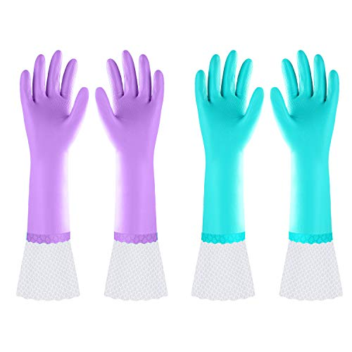 Reusable Long Dishwashing Cleaning Gloves with Latex Free, Long Cuff,Cotton Lining,Kitchen Gloves 2...