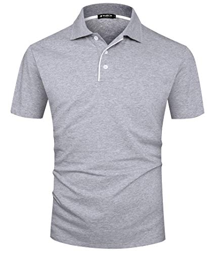 Kuson Herren Poloshirt Kurzarm Patchwork Sommer T-Shirt Men's Polo Shirt Baumwolle Grau M