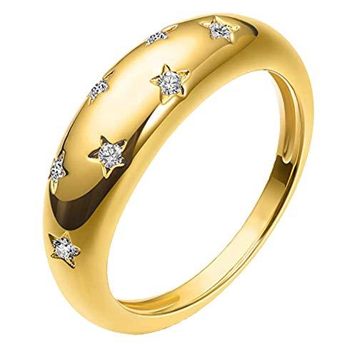 minjiSF Anillo brillante de diamante para mujer y hombre, chapado en oro de 18 quilates, circonita, anillo de declaración, anillo de cúpula, regalo de Navidad, alianzas de boda