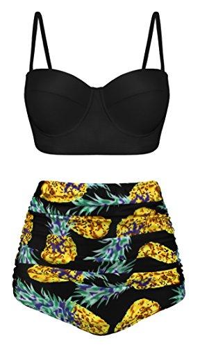 Angerella Vintage Halfter Schwarz Oben Hohe Taille Ruched Ananas Druck Bikini Set
