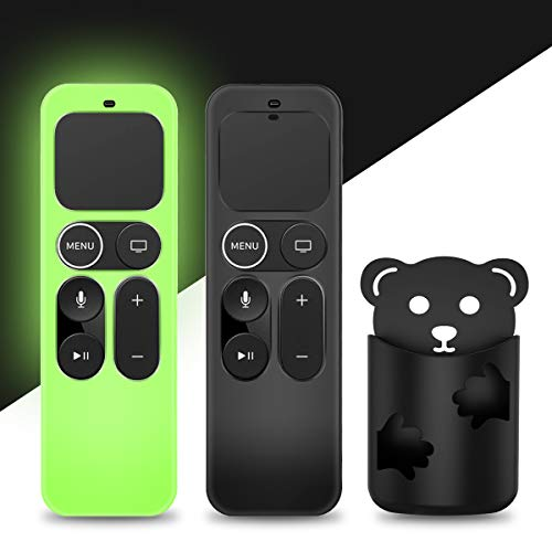 [2 Pack] YIPINJIA Protective Case for Apple TV Siri Remote 4K, 4th/5th Gen Remote, Anti Slip [Skin-Friendly] Shock Proof, Silicone Cover for Apple TV Siri Remote Controller[Holder Included]