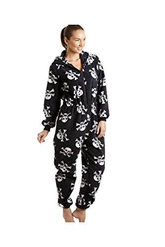 CAMILLE Damen Verschiedene Design super weiche Fleece Onesies 50/52 Black White Skull