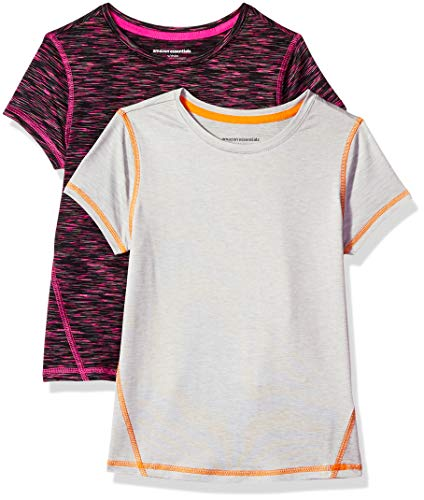 Amazon Essentials Mädchen-Kurzarmshirt Active, 2er-Pack, Black Spacedye/Light Grey Heather, US M (EU 128 CM)