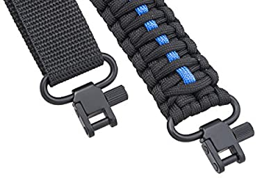 Ace Two Tactical Gun Sling 550 Paracord - Rifle or Shotgun - 2 Point - Extra Strong Multi Use (Thin Blue Line)