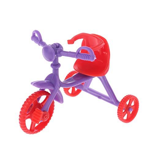 Gwxevce Triciclo de muñeca de Empuje Miniatura para niños Mini Juguetes Regalos para niños Accesorios de casa de muñecas Juego de plástico Juego de casa Juguete