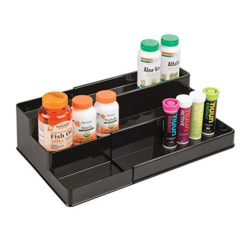 mDesign Organizador de armario botiquín con 3 niveles para vitaminas y suplementos – Estante extensible para guardar medicinas en el baño – Práctico soporte especiero para la cocina – negro