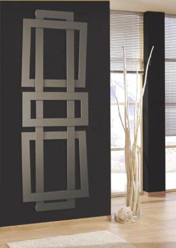 Badheizkörper Design ART II, HxB: 180 x 60 cm, 1019 Watt, moonstone-grau (metallic) (Marke: Szagato) Made in Germany/exklusiver Bad und Wohnraum-Heizkörper (Mittelanschluss)