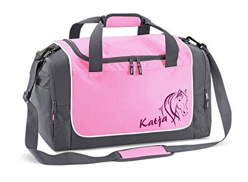 Werbetreff Gera Reittasche in rosa für Mädchen mit Name Bedruckt Quadra Sporttasche pink Schulanfang