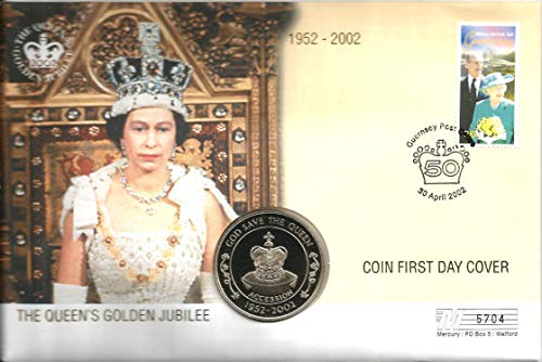 FIRST DAY COVER (COIN & STAMPS): THE QUEEN'S GOLDEN JUBILEE 30th April 2002 with the St Helena 50p coin. The condition is as new. LIMITED EDITION NUMBER: 05704