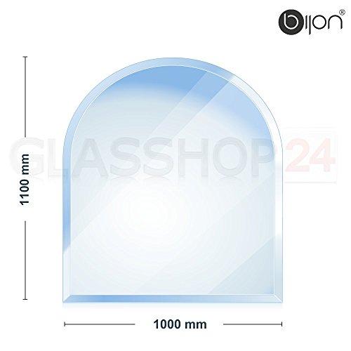 bijon® - 8mm Kamin Glasbodenplatte - Rundbogen 1000x1100x8mm -18mm Facette