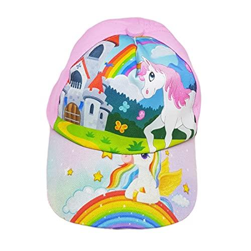 Digital Cartoon Caps for Baby, Boys & Girls (Age 2-5 Years) Unicorns Pink