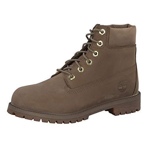 Timberland Premium 6 Inch Waterproof Boot Big Kids' Shoes Dark Beige Nubuck tb0a1vdt (7 M US)
