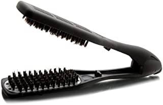 Denman Professional Hair Straightener Brush D79 - Ceramic Flat Iron Hair Comb with Boar Bristles - For Wide, Wavy, Curly, Coily Hair – Black