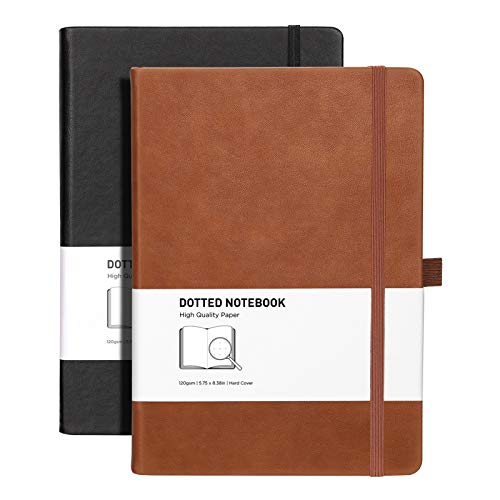 RETTACY Dotted Bullet Grid Journal 2 Pack - Dot Grid Hard Cover Notebook with 320 Pages,120gsm Thick Paper,8 Perforated Sheets,Smooth PU Leather,Inner Pocket,''5.75 × 8.38'' (Black Brown)