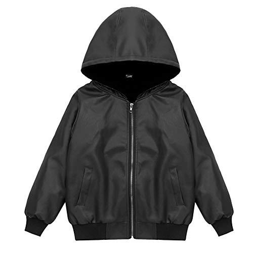 SXSHUN Jungen Verdickte Lederjacke mit Kapuze PU Leder Kinder Flaumgefüttert Bikerjacke Warm Outwear Kleidung Mantel, Schwarz, 86 (Etikettengröße:90)